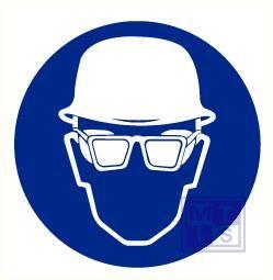 Helm en bril verplicht vinyl 400mm