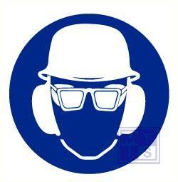 Helm. bril en oorkap verplicht pp 200mm