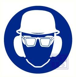 Helm. bril en oorkap verplicht pp 400mm