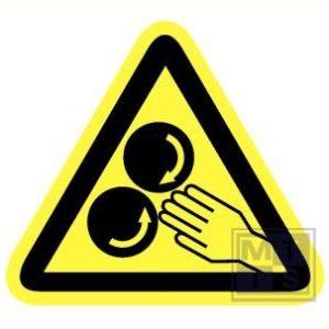 Gevaar voor handen vinyl 90mm