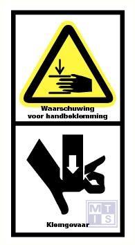 Waarschuwing voor handbeklemming/klemgevaar vinyl 90x170mm