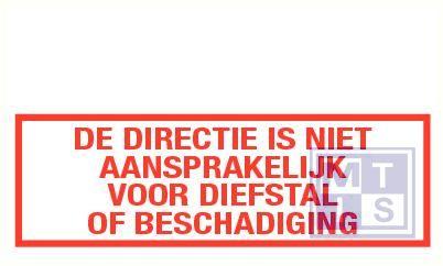 De directie niet aansprakelijk voor diefstal pp 250x90mm