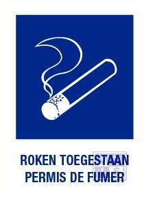 Roken toegestaan nl/fr vinyl 140x200mm