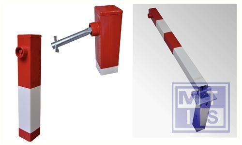 Sesam paal 70x70mm rood/wit met cylinderslot/bodemplaat