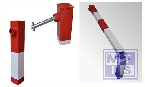 Sesam paal 70x70mm rood/wit met cilinderslot/grondkoker