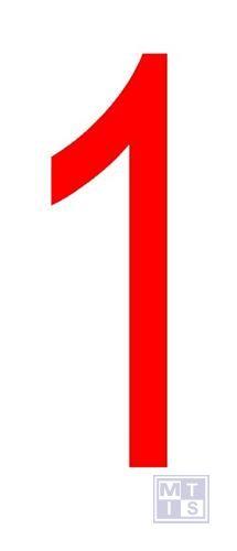 """Cijfer """"1"""" rood vinyl 70mm"""