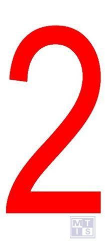 """Cijfer """"2"""" rood vinyl 70mm"""