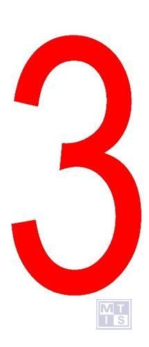 """Cijfer """"3"""" rood vinyl 70mm"""