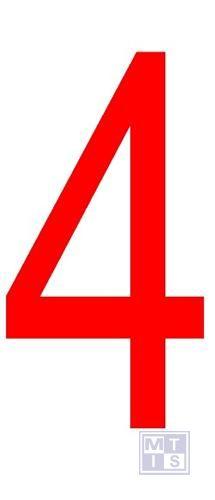 """Cijfer """"4"""" rood vinyl 70mm"""