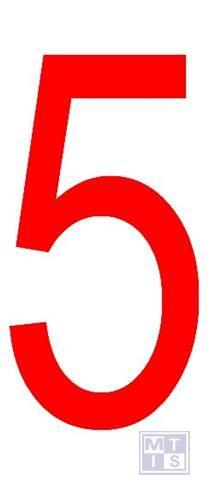 """Cijfer """"5"""" rood vinyl 70mm"""