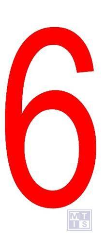 """Cijfer """"6"""" rood vinyl 70mm"""
