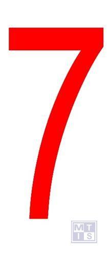 """Cijfer """"7"""" rood vinyl 70mm"""