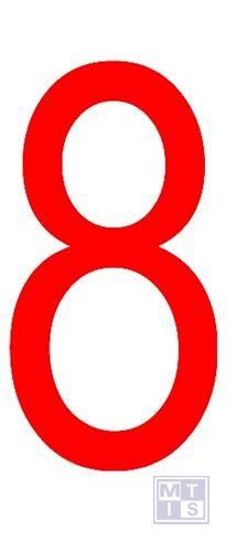 """Cijfer """"8"""" rood vinyl 70mm"""
