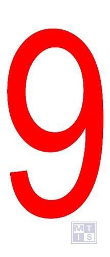 """Cijfer """"9"""" rood vinyl 70mm"""