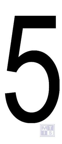 "Cijfer ""5"" zwart vinyl 70mm"