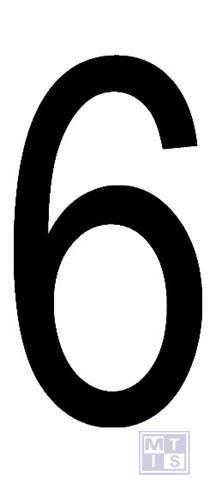 "Cijfer ""6"" zwart vinyl 70mm"