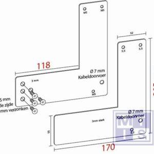 Montageplaat voor glasdeur 20,5 cm