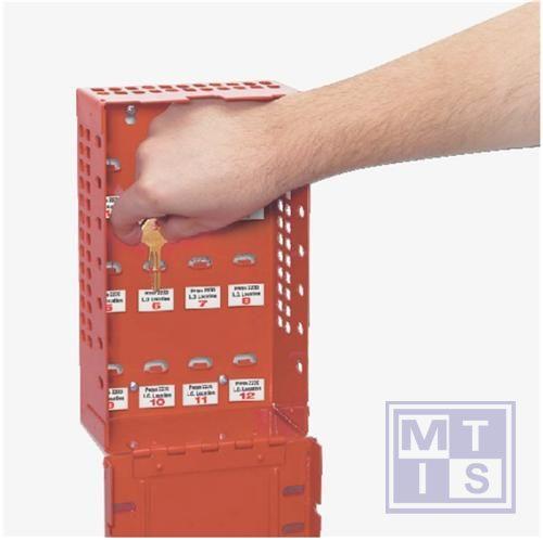 Sleutelbeheerkast (12 haakjes) rood gelakt metaal 32x9x16cm