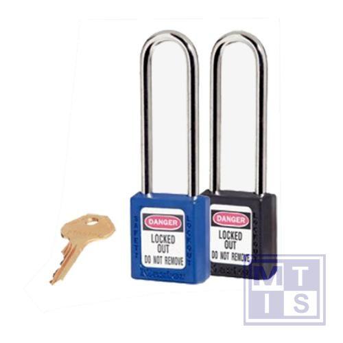 Hangslot xenoy plastic rood verschillende sleutels B=76mm