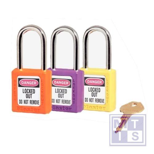 Hangslot xenoy plastic geel verschillende sleutels B=38mm