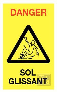 """Baken geel """"Danger Sol glissant""""RECT/VERS 620x240mm"""