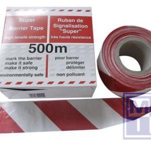 Afbakeningslint rood/wit schuine striping sterk 500m