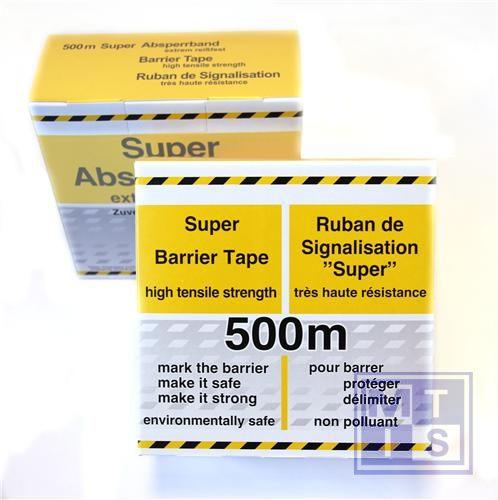 Afbakeningslint zwart/geel verticale striping sterk 500m