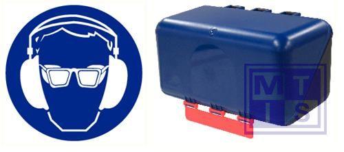 Secubox hoor/oogbeveiliging mini blauw 23,6x12x12cm