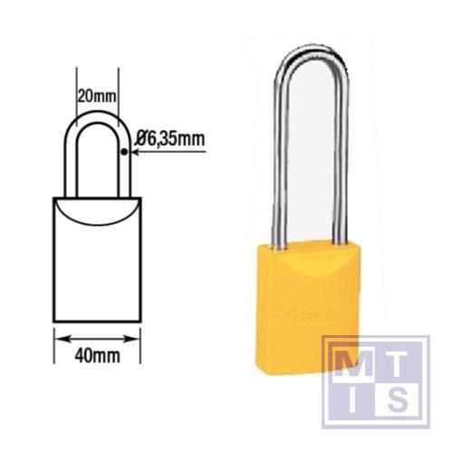 Hangslot gekleurd aluminium geel dezelfde B=76mm