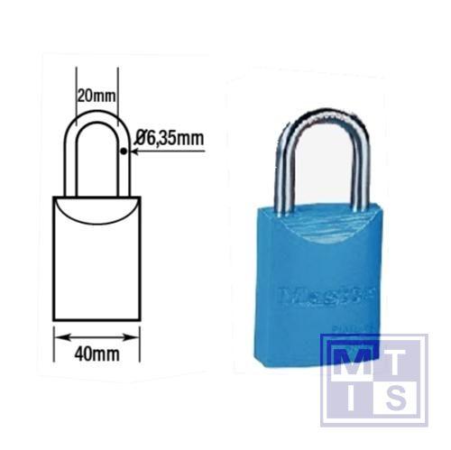 Hangslot gekleurd aluminium blauw dezelfde+loper B=27mm