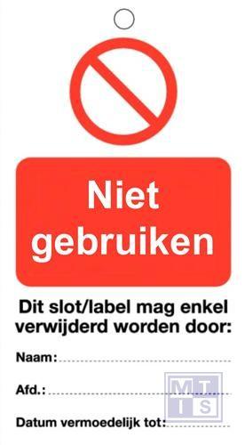 Waarschuwingstag niet gebruiken pvc 50x100mm